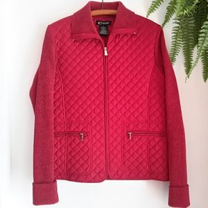 Red quilted e studio jacket